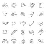Cykelhjälpmedel och utrustning särar och uppsättningen för tillbehörvektorsymbol Royaltyfri Bild