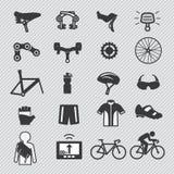 Cykelhjälpmedel och utrustningdelsymbol vektor illustrationer