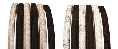 Cykelhjul med eker och detväg gummihjulet illustration 3d Är Royaltyfri Fotografi