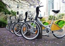 Cykelhyrapunkt i Brisbane Arkivfoto