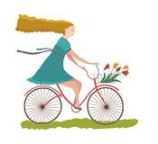 cykelkvinnabarn Arkivfoto
