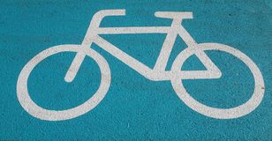 Cykellinje, cykelväg Royaltyfria Foton