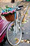 Cykeln med korgen av blommor parkerar in Royaltyfria Foton