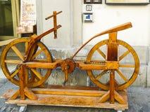 Cykeln som uppfinns av Leonardo da Vinci Arkivfoton