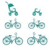 Cykeln ställde in för familj Ställ in av konturcyklar som isoleras på vit bakgrund Plana symboler f?r vektor vektor illustrationer
