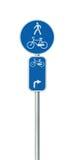 Cykelruttnummer, cykla och fot- grändvägmärke Arkivfoton