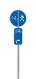 Cykelruttnummer, cykla och fot- grändvägmärke Royaltyfri Bild