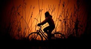 cykelsilhouettesolnedgång Arkivfoto