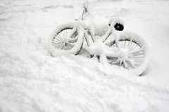 cykelsnow Royaltyfri Fotografi