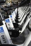 Cykelstation, Madrid Arkivbild