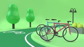Cykelstationen med cykelgrändgräsplan parkerar stil för tecknade filmen för tolkningen för träd 3d för bottenläget 3d poly, trans royaltyfria bilder