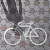 Cykelsymbol på kvartergolvvektorn Arkivbilder