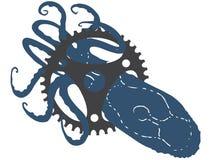 Cykeltandhjul med tioarmade bläckfisken vektor illustrationer
