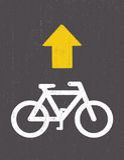 Cykelvägmärketeckning vid pastell på kolpapper Royaltyfria Foton