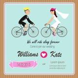 Cykelvännen kopplar ihop bröllopinbjudan Arkivfoto