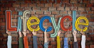 Cykl życia ręki Podnosili Kolorowego Wielo- Etnicznego cegły pojęcie zdjęcia stock
