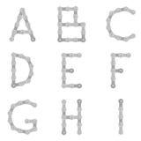 Cykla chain alfabet A till I vektor illustrationer
