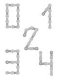Cykla chain nummer 0 till 4 royaltyfri illustrationer