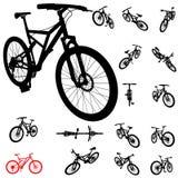 cykla den set silhouetten Fotografering för Bildbyråer