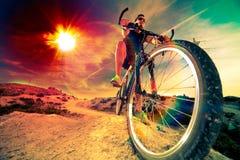 cykla det grunda cykla perspektiv för berg för händer för skogen för fokusen för cyklistdjupfältet Sport och sunt liv Arkivfoto
