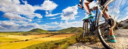cykla det grunda cykla perspektiv för berg för händer för skogen för fokusen för cyklistdjupfältet Sport och sunt liv Fotografering för Bildbyråer