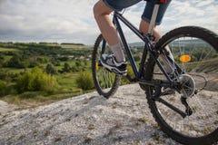 cykla det grunda cykla perspektiv för berg för händer för skogen för fokusen för cyklistdjupfältet Sport och sunt liv extrema spo Arkivbild