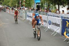 Cykla för Poznan Triathlon Arkivbilder