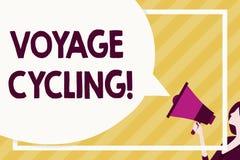 Cykla för resa för handskrifttexthandstil Begrepp som betyder bruk av cyklar för transportrekreation och att öva enormt stock illustrationer