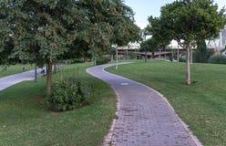 Cykla gränden mellan träd i Jardin del Turia i Valencia Spain Belägga med tegel cycleway på gräset som är bikeway för cyklister Arkivbild