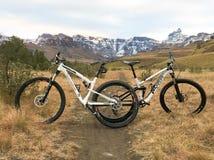 Cykla i bergen med snö Arkivfoto