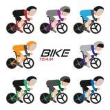 Cykla laget som cyklar turnera symbolsuppsättningen, vektorillustration arkivbilder