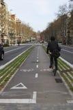 Cykellane i Barcelona. Spanien Royaltyfria Foton