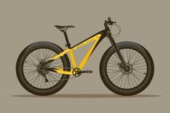 Cykla med tjocka gummihjul på en kaki- bakgrund Stock Illustrationer