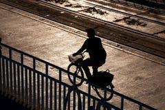 Cykla ridningen i strålarna av inställningssolen Arkivfoton