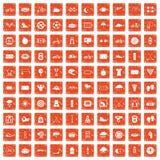 100 cykla symboler ställde in grunge orange Royaltyfri Fotografi