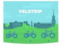 Cyklar av olika format mot bakgrunden av staden royaltyfri illustrationer