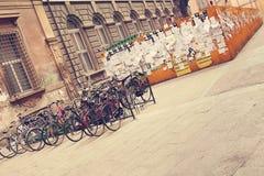 Cyklar Bologna Italien Arkivfoto
