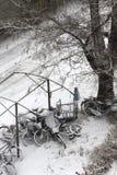 Cyklar coverd med snow Arkivfoton