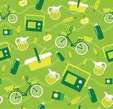 Cyklar den idérika sömlösa picknickmodellen för vektorn med beståndsdelar, lemonad, picknickkorgen, krus Royaltyfri Foto