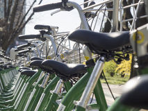 Cyklar för hyra Arkivbild