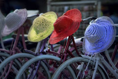 Cyklar för hyra i Jakarta arkivfoto