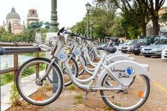 Cyklar för hyra i Verona royaltyfri foto