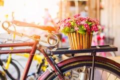 Cyklar gamla tappningblommor i en korg Parkerat på sidoväggen arkivbild