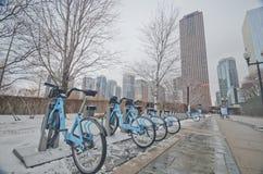 Cyklar hyr i Chicago Royaltyfri Fotografi