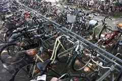 Cyklar i staden av Munster, Tyskland Arkivbilder