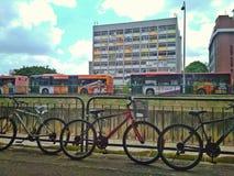 Cyklar och bussar royaltyfria bilder