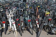Cyklar som parkerar i Nederländerna Arkivfoton