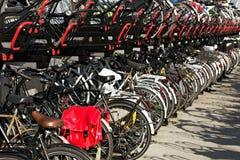 Cyklar som parkerar på cykelkuggen i i stadens centrum Amsterdam, Nethen Arkivfoton
