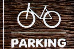 Cyklar som parkerar symboler och tecknet Arkivbilder