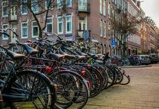 Cyklar som parkeras i Amsterdam royaltyfri fotografi